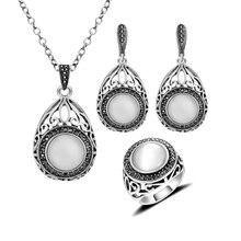 Agua gota forma colgante , collar fija Vintage Retro ópalo joyas naturales de piedra conjunto