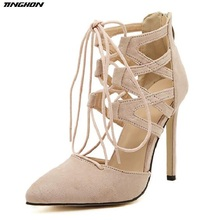 TINGHON  Spring Summer Women Flock Pumps Hollow Bandage Cross Tied High Heels 11.5 CM Lady Shoes Zipper Party US4-US11