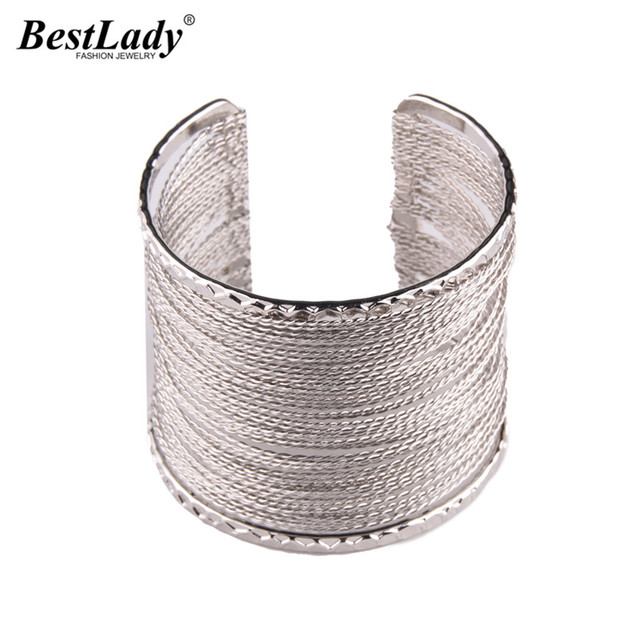 Hot Brand Cheap Vintage Link Chain Maxi Open Bangle Bracelets for Women Bohemian Wedding Party Gift Bangles