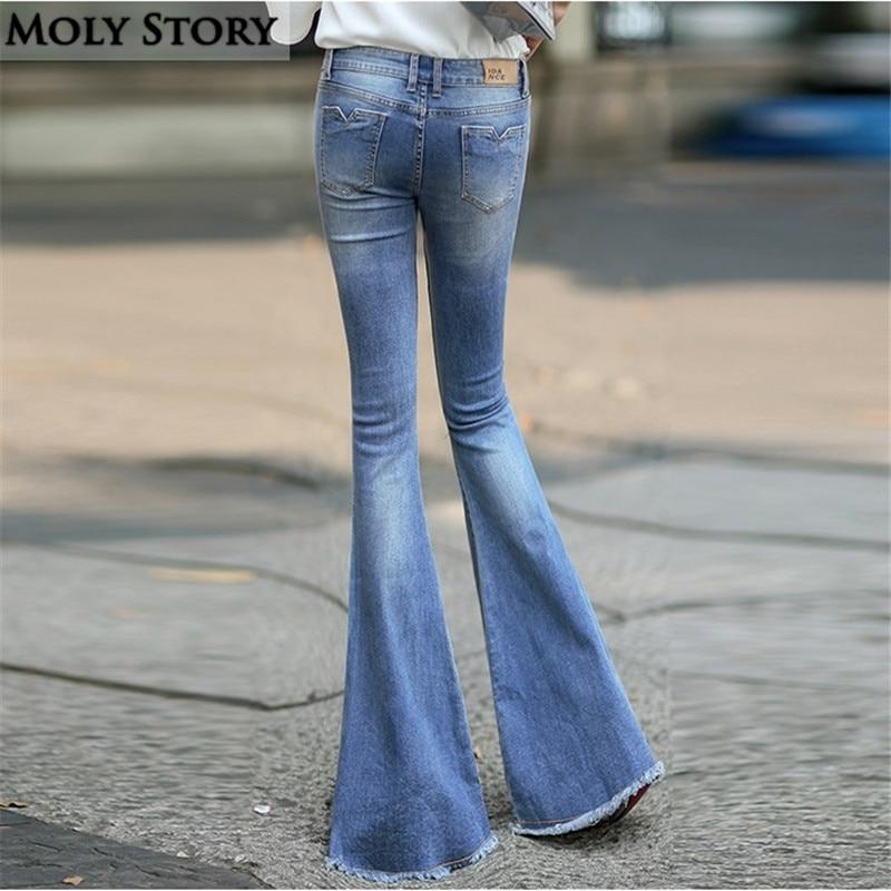 aae074ee3a04b Fashion New Vintage Fringe Flare Jeans Sexy Low Rise Skinny Jeans Femme  Hippie Wide Leg Denim Pants Women