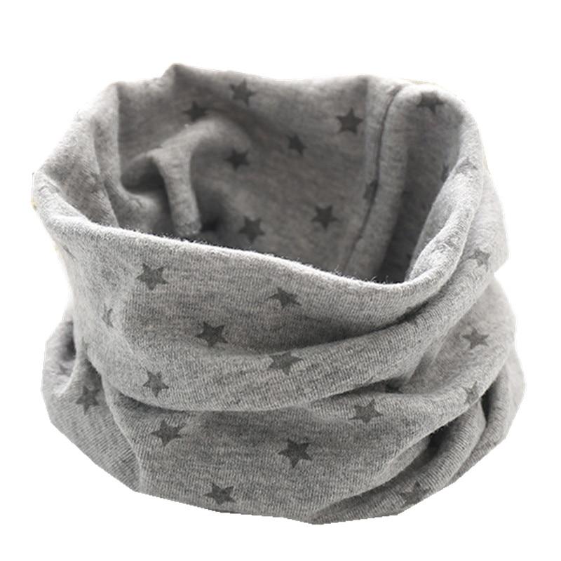 Новинка; сезон осень-зима; шарф из хлопка для девочек; Детский шарф; нагрудный шарф для мальчиков и девочек с круглым кольцом; милый детский шарф с воротником; Bufandas - Цвет: gray small star