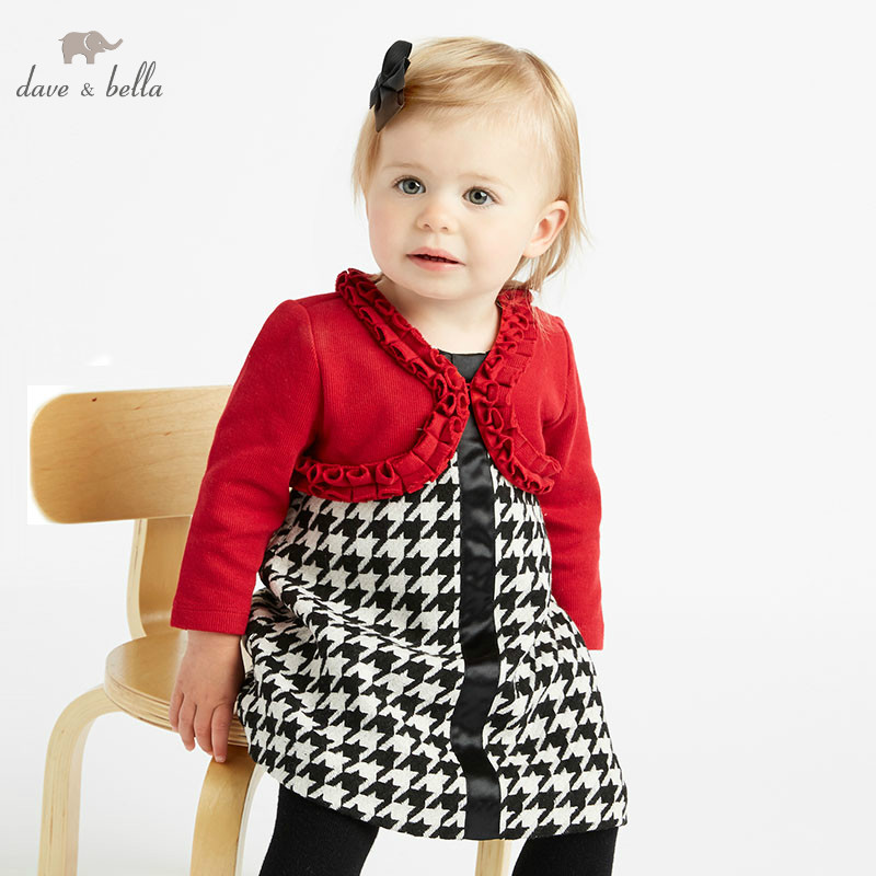 DB8895 dave bella autumn infant baby girl s clothing sets red cardigan kids birthday party dress
