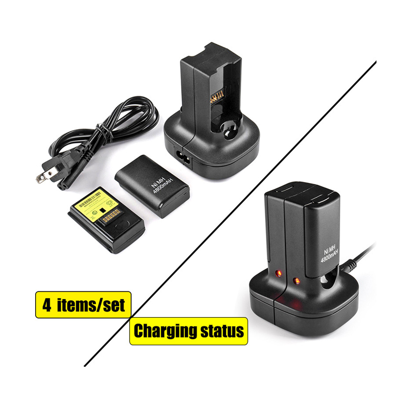 2Pcs 4800Mah Rechargeable Battery 1 Dual Charger Dock Station LED Charging Light For Xbox 360 Controller
