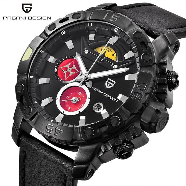 f0cd0ad724c Luxo Chronograph Mens Relógios PAGANI PROJETO Homens Esportes Militares  Relógio de Quartzo Masculino Relógio de Couro