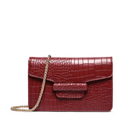 2017 Luxury Women Crocodile Clutch Purse Wine Red Party Evening Bags PU Leather Ladies Shoulder Bag