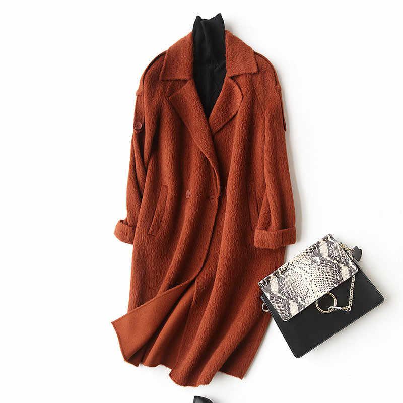 AYUNSUE модное длинное шерстяное пальто женское кашемировое пальто Альпака 2019 Осень Зима шерстяные куртки пальто manteau femme hiver 37032