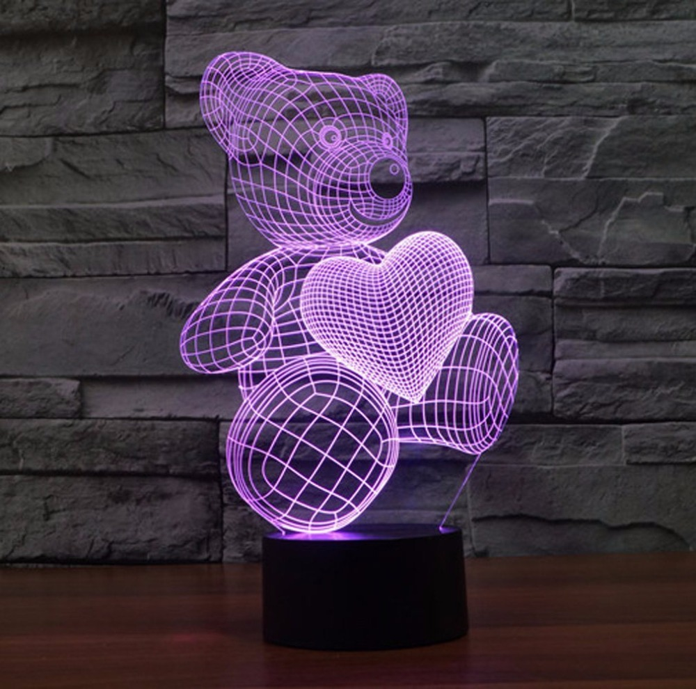 Dessin animé Mignon Coeur Ours Forme Acrylique LED Lampe 3D Veilleuse Bébé Sommeil Éclairage Pour Enfant Veilleuse De Noël anniversaire cadeau