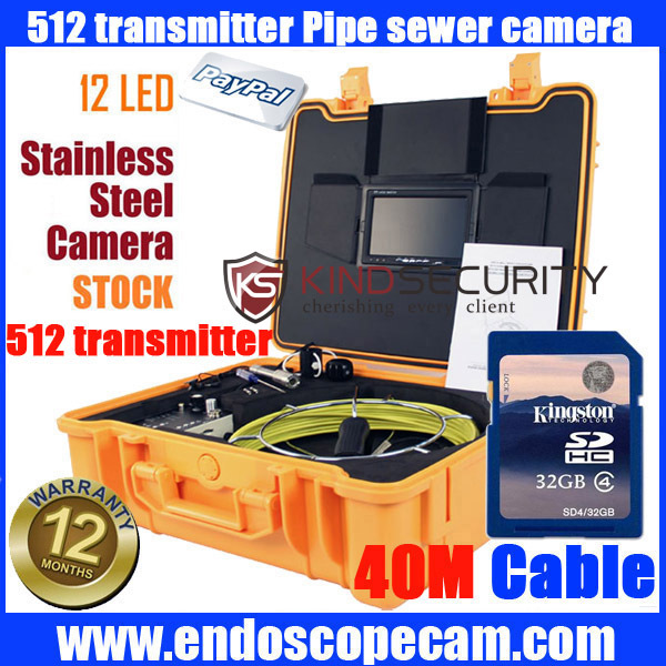 512HZ Sonda Transmitter Locator SEWER VIDEO PIPE DRAIN CLEANER INSPECTION SNAKE CAMERA W SONDE 40m cable