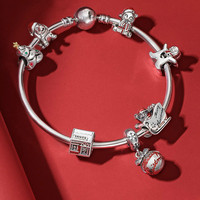 DERMSPE S925 Silver Christmas tree, old man Set bangle Fit DIY Original jewelry 925 sterling silver woman Bracelet Birthday Gift