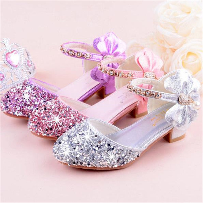 Children Girl Crystal Rhinestone Bowknot Shoes Girls Dance Shoes High-heeled Party Princess Shoes 26-38 Sliver Pink Purple TX03