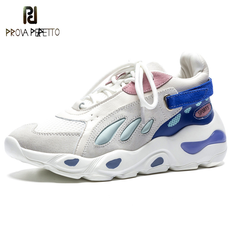 Prova Perfetto 2018 Spring Autumn Woman Sneakers Summer Breathable Flats Female Lace-Up Platform Shoes Women Ladies Casual Shoes цена