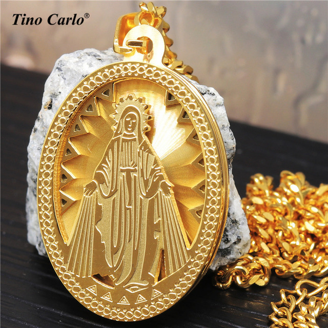Christian Jewelry Golden Our Lady of Guadalupe Virgin Mary Saint