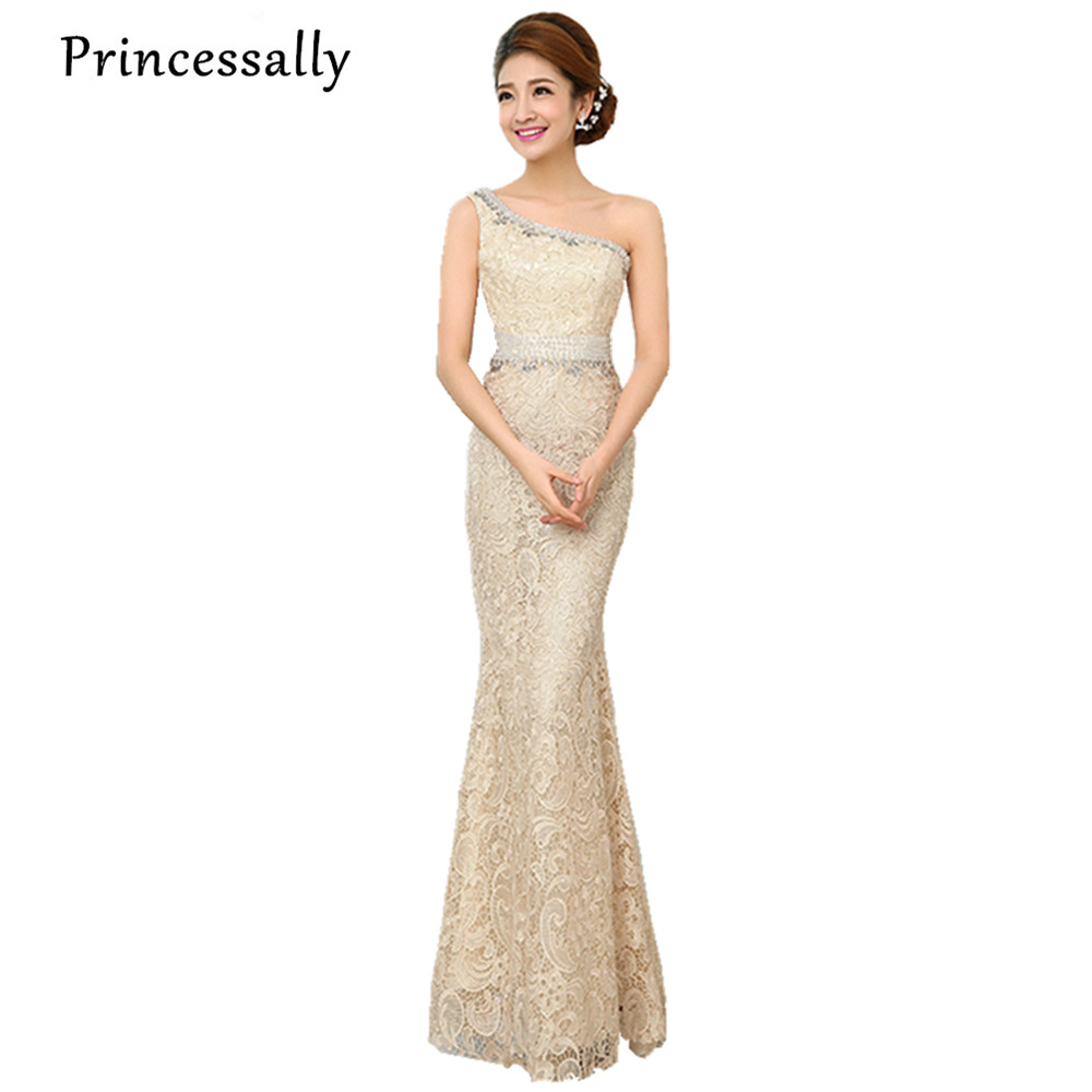 Elegant one shoulder lace mermaid bridesmaid dress under for Elegant wedding party dresses