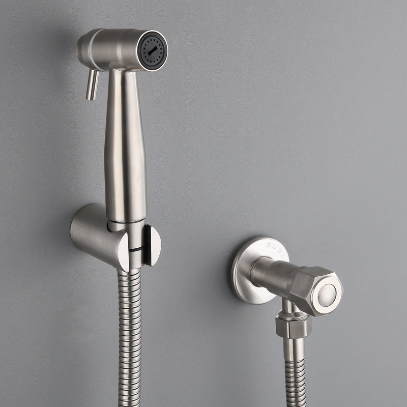 bidet 304 stainless steel toilet washer nozzle pressurized washer faucet hose bracket angular valve set single cold wall mounted in Bidets from Home Improvement