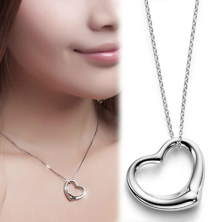 e14e10a8b4fe Joyería encanto color en forma de corazón colgante collar de cadena de  color plata plateado NL-0563