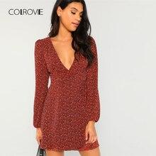 e1a287f19ce9 COLROVIE Rust Leopard Deep V Neck Wrap Long Sleeve Sexy Mini Dress 2018  Autumn Knot Party