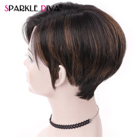 Pre Plucked Bob Lace Human Hair Wigs With Baby Hair 150% Density Peruvian Straight Short Wig For Women Omber P1B/30 Non Remy Wig