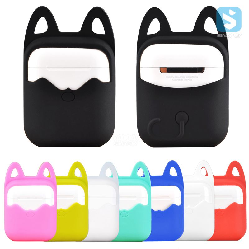 Hanging Cat Ears Silicone Rubber Bag Protective Cover Sleeve Case for Apple Airpods Charging Case