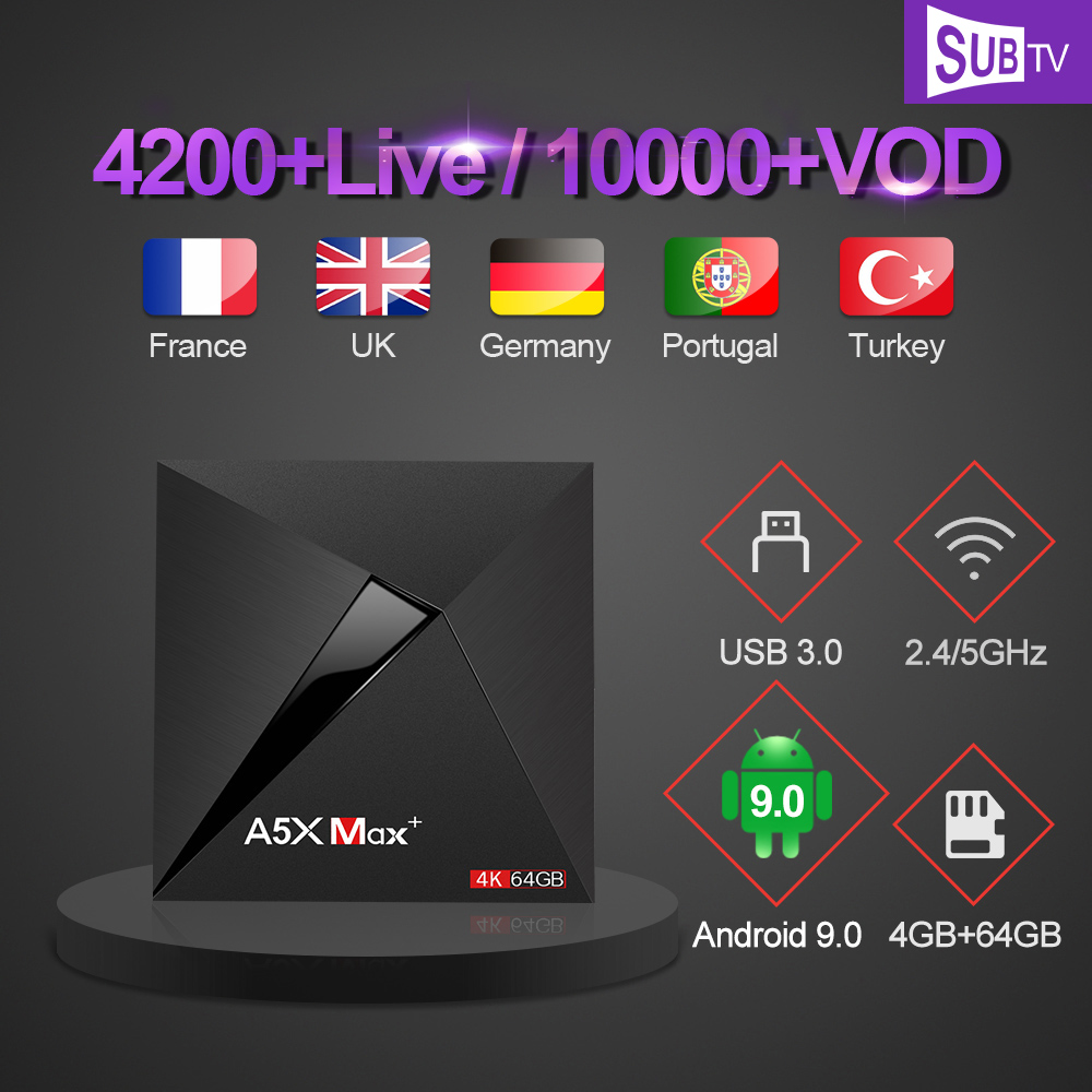 IPTV Italy France A5X Max Arabic Portuguese SUBTV IPTV Subscription TV Box Android 9.0 Polish Turkey Canada Russian IP TV France image