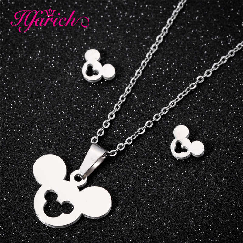 Hfarich Stainless Steel Animal Mickey Stud Earrings for Women Girls Kid Birthday Gift Cute Mouse Jewelry Accessories