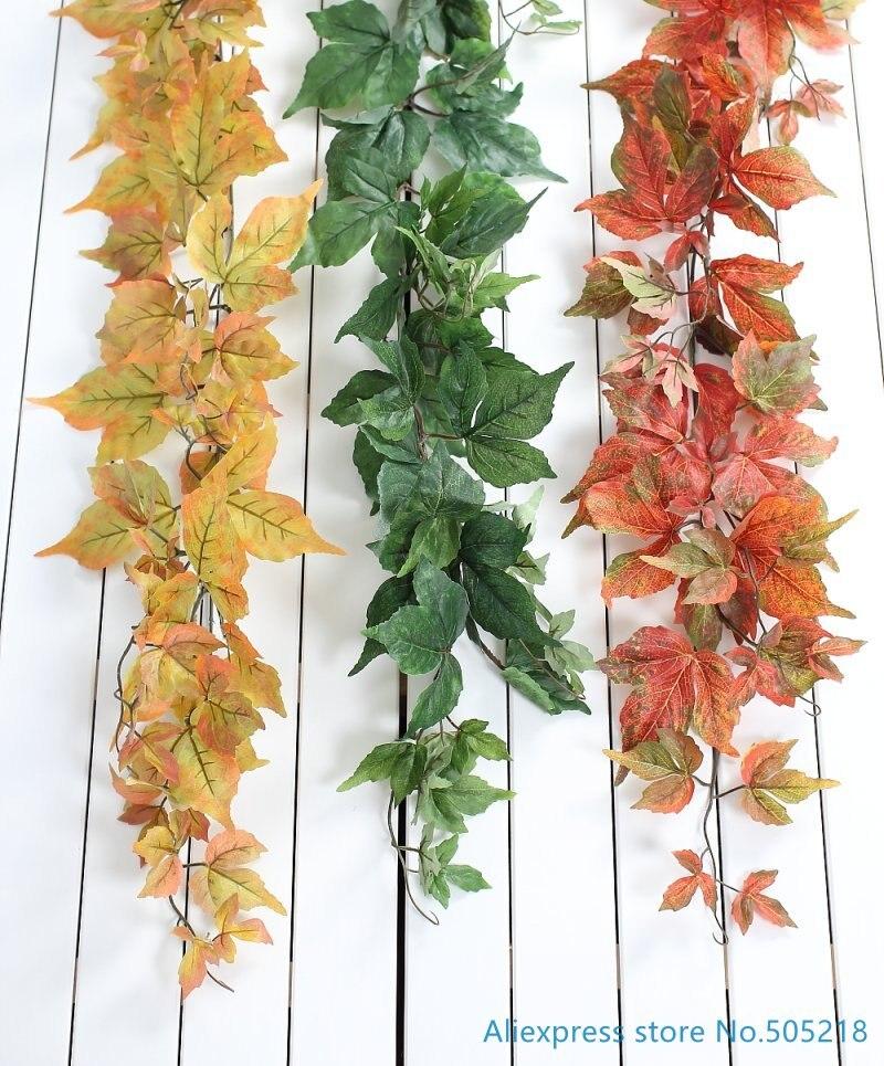 180 cm in feet - 1 stem 180cm (6 FT) Artificial Parthenocissus tricusp Maple Leaves Creeper Vine plastic Plant Home Wedding Decoration F421