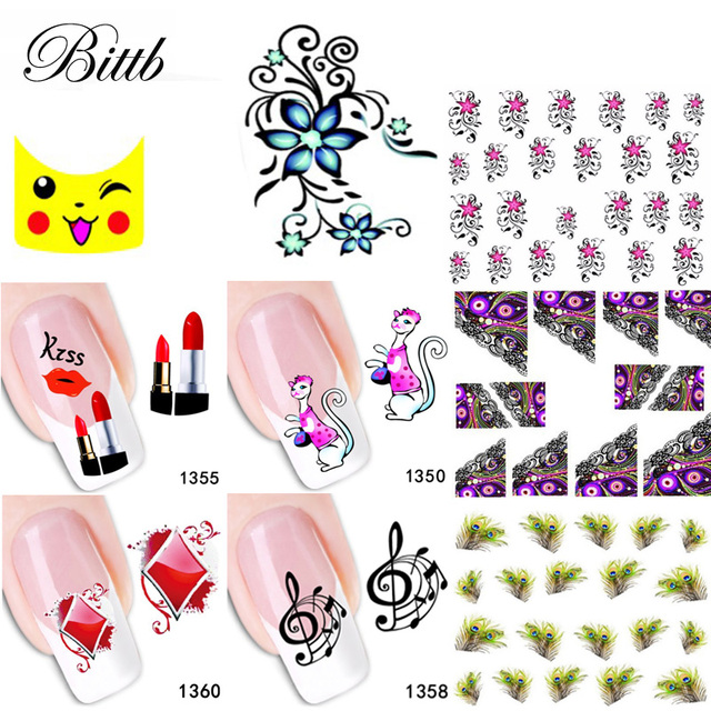 Bittb 100 Sheets Nail Decals Water Transfer Art Sticker Flower French Tips Mixed Diy Watermark