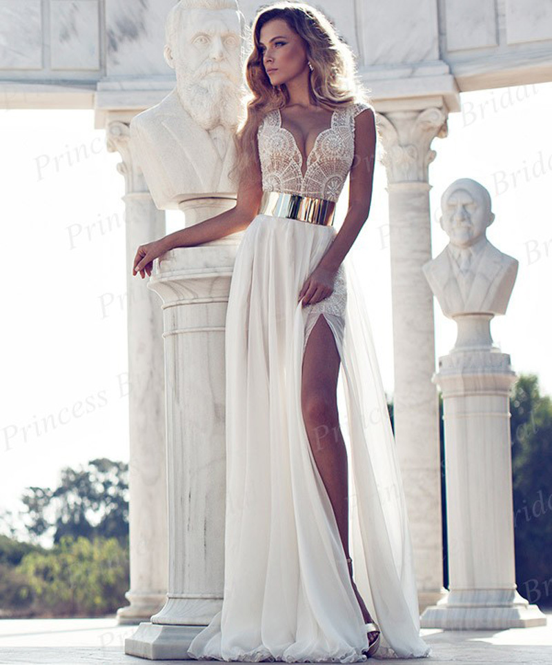 Sheath V Neck Beaded Chiffon Real Picture Julie Vino Winter 2014 Bridal Cap Sleeve High Slit