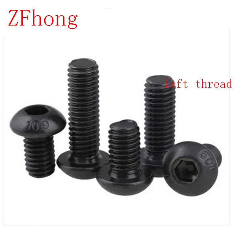 10pcs ISO7380 M4*6/8/10/12/16/20/25 Steel with black left thread button head hex socket screw 50pcs lot iso 7380 m3 x 8 titanium button head hex socket screw