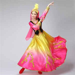 Image 2 - Синьцзянские костюмы, Национальный костюм, открытая юбка качели, уйгурская танцевальная одежда, Женская танцевальная юбка, квадратный костюм