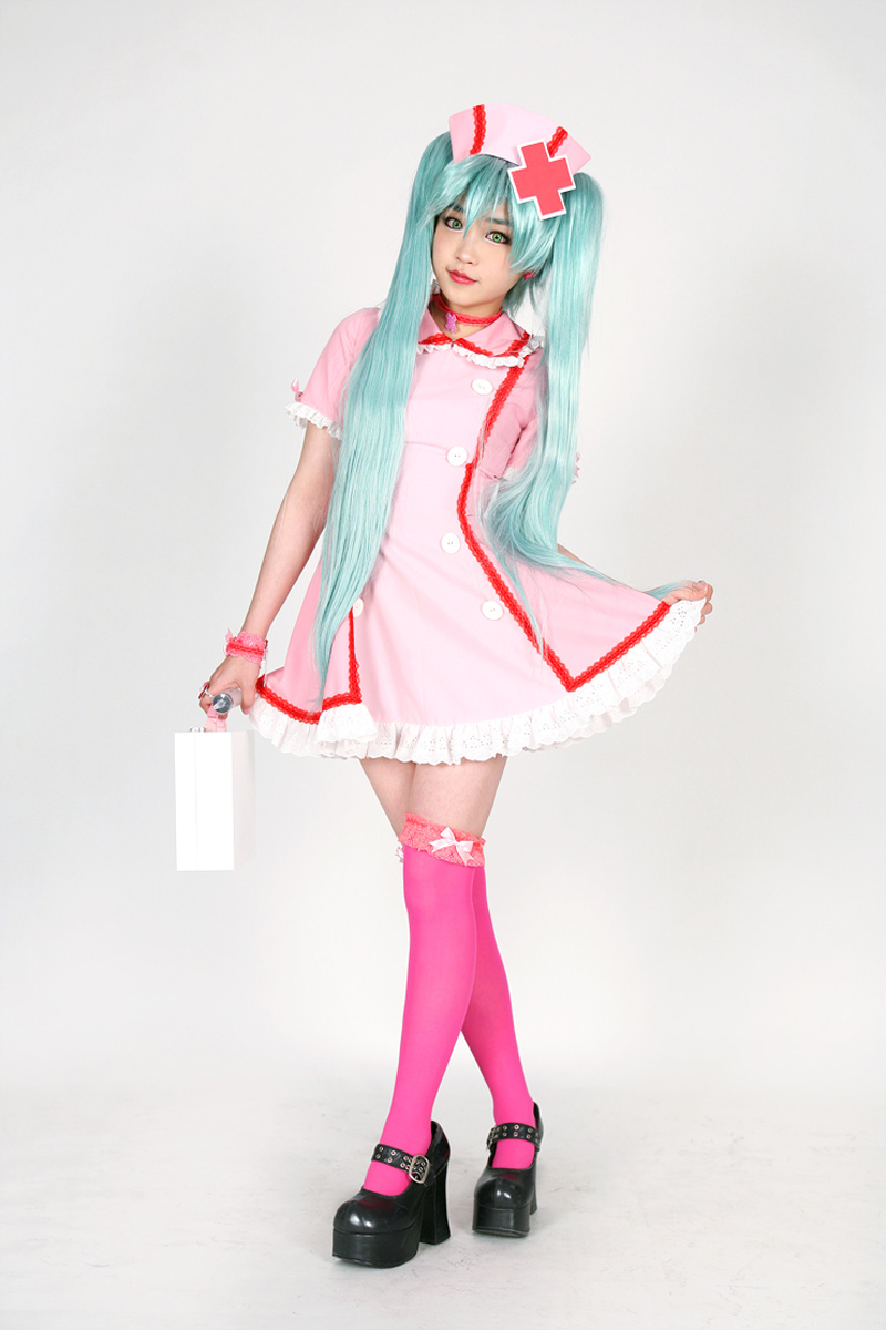 b9a9b754793c0 Free Shipping Vocaloid Hatsune Miku Sexy Nurse Uniform Anime Cosplay Costume