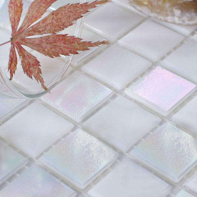 Gl Mosaic Tiles Sheet Iridescent Crystal Backsplash Liner Wall Stickers Bathroom Floor Tile Swimming Pool