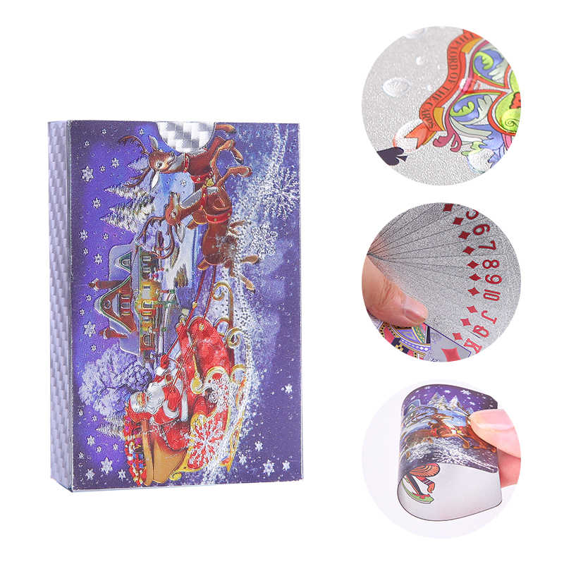 Christmas Plastic Playing Cards Waterproof Gold PVC Poker Game Cards Collection Durable Creative Gift Card Plastic Poker Cards