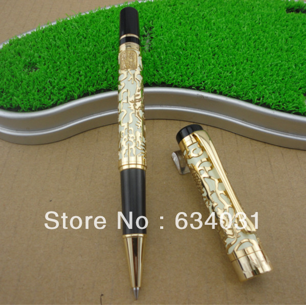 JINHAO 5000 Golden M Nib roller ball pen Dragon Embossed school office stationery writing pen Hot jinhao1200 silver 18kgp dragon clip carved stationery school black ink refills 0 7mm nib office roller ball pen