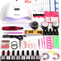 36w/48w/80w Led Nail Lamp for Nails Manicure Set Kit Gel Polish 6 Gel Varnish Acrylic nail kit Manicure Machine Handle Set
