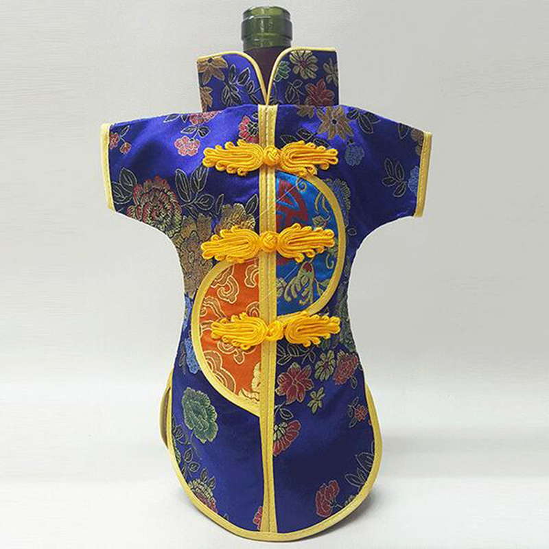 Creative Vintage Chinese Wine Bottle Cover Bags Merry Christmas Bottle Dust Cover Silk Brocade Wine Bag Table Decoration