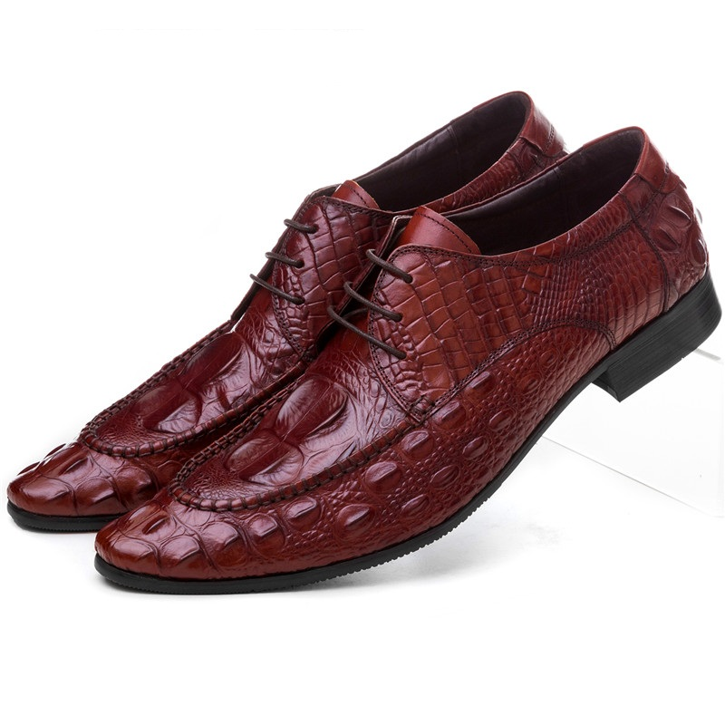 Fashion Crocodile grain Black / Brown tan pointed toe mens business shoes genuine leather wedding shoes mens dress shoes crocodile grain wine red black pointed toe dress shoes mens business shoes genuine leather formal man wedding shoes