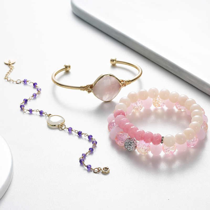 BOJIU ローズピンク紫水晶ブレスレット女性のための新デザインブレスレット腕輪夏絶妙なブレスレットのセット女性 BCSET69