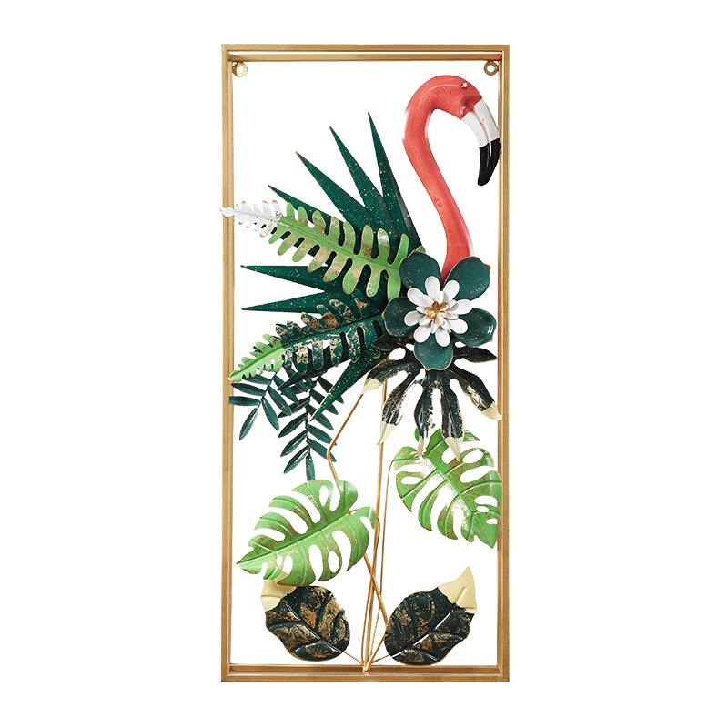 Européen fer forgé Flamingo tenture murale oiseaux décoration artisanat hôtel maison couloir mur autocollant métal plante murale ornements - 4