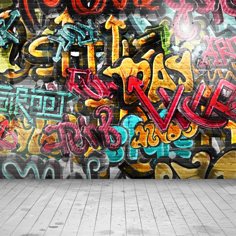 Laeacco Grunge Graffiti Brick Wall Floor Portrait Photography Backgrounds Vinyl Custom Seamless Backdrops Props For Photo
