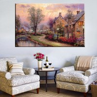 Unframed Multicolor Painting Cottage Artwork Thomas Kinkade Prints Reproduction Villa Landscape Painting for Home Wall Art Decor