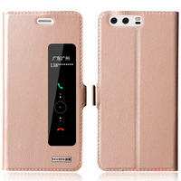 For Huawei P10 Real Genuine Leather Cover View Window Magnet Close Smart Intelligent Sleep For Huawei