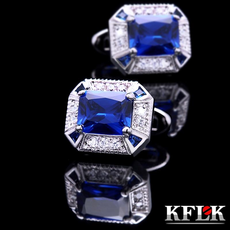 KFLK ékszer ing mandzsettagomb férfi ajándékhoz Márka mandzsettagomb Crystal esküvői mandzsettagomb Kiváló minőségű kék abotoadura Ingyenes házhozszállítás