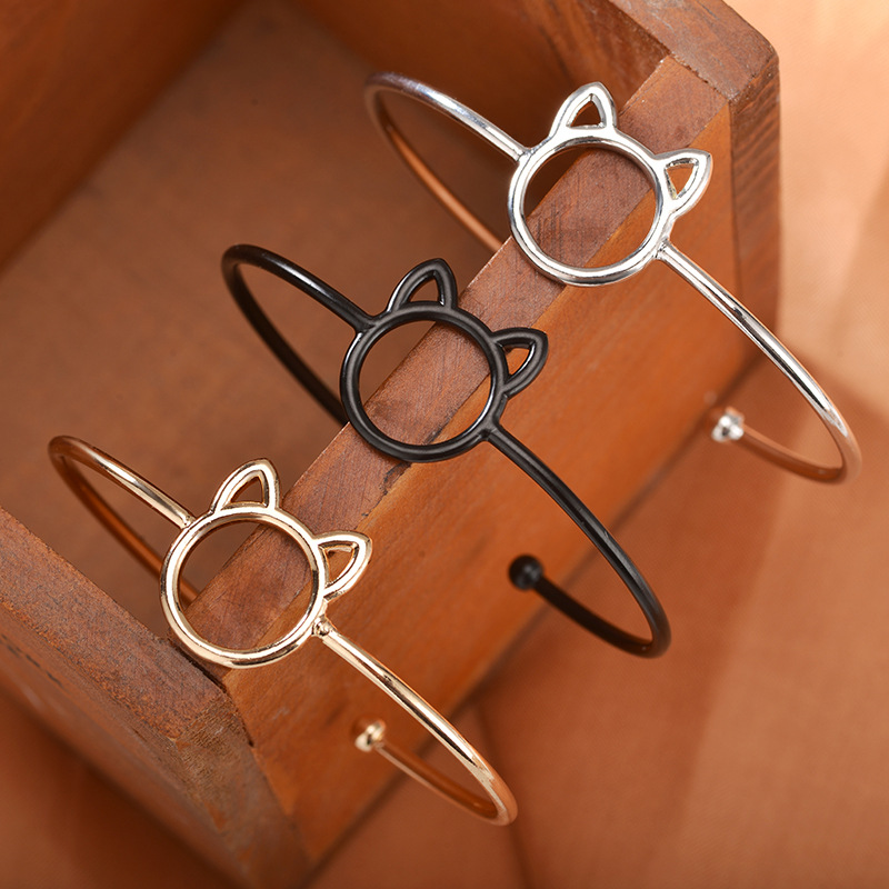 Cartoon animal cat ear opening adjustable bracelet environmental protection copper material hand jewelry