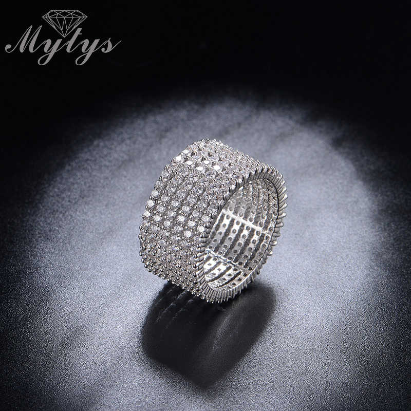 Mytys luxe Pave réglage bague en cristal argent plaqué bandes de mariage anneau pour les femmes de haute qualité bijoux cadeau R1192