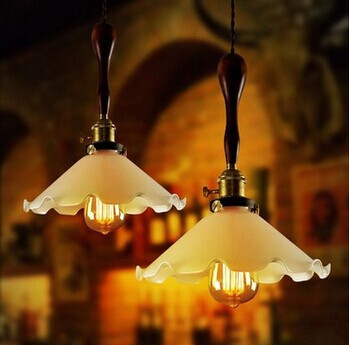 E27*1 Edison vintage lamp Industrial Pendant Lights Fixtures With Glass Lampshade in Countryside Retro Loft Style,Bulb Included edison inustrial loft vintage amber glass basin pendant lights lamp for cafe bar hall bedroom club dining room droplight decor