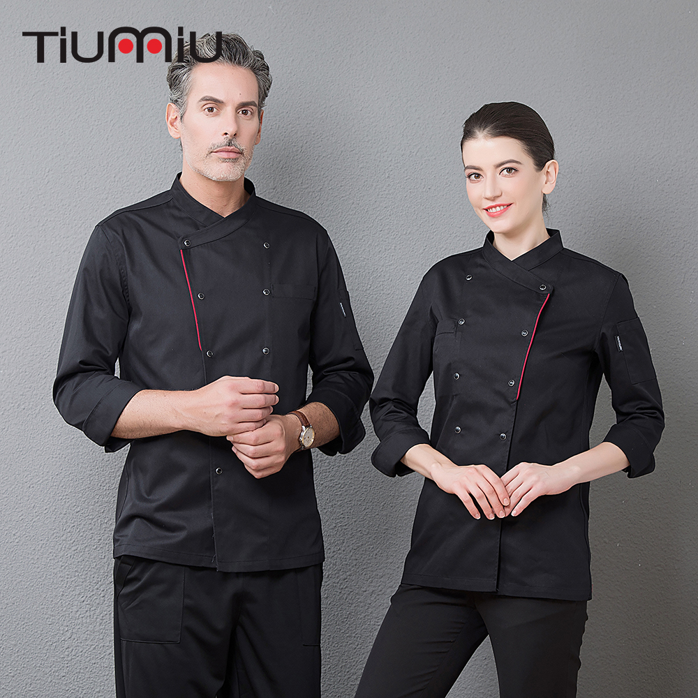 New Arrival Men's Kitchen Work Clothing Top Restaurant Cooking Jacket Master Chef Waiter Uniforms Cuisine Overalls Drop Shipping