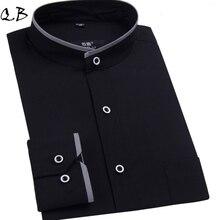 Белый/черный мандарин воротник slim fit рубашки длинным марка платья рукавом мужская