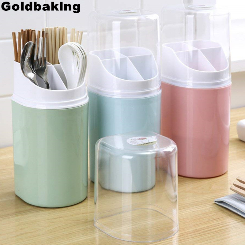 US $9.08 24% OFF|Goldbaking 4 Compartment Plastic Kitchen Utensil Holder  with Cover Flatware Chopsticks Holder Cutlery Utensil Crock Organizer-in ...