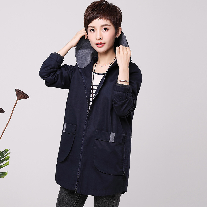 2019 Spring Autumn New Large Size 5XL Women's Clothing Middle-aged Windbreaker Outerwear Casual Hooded Long   Trench   Coats A580