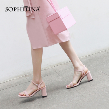 SOPHITINA Fashion Women's Sandals Comfortable High Square Heel Buckle Strap Sweet New Shoes High Quality Kid Suede Sandals SO31